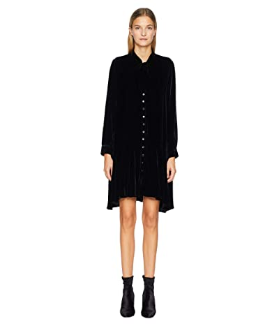 The Kooples Short Velvet Dress with Long Sleeves and A Bow At The Collar (Black) Women