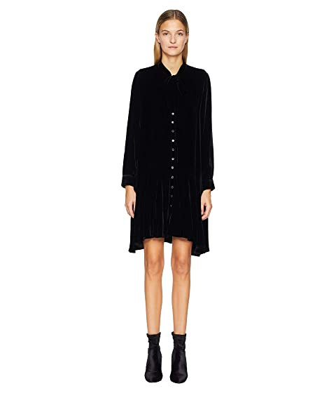 The Kooples Short Velvet Dress with Long Sleeves and A Bow At The Collar