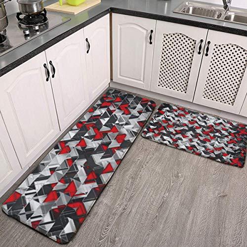 MGVDSES Cushioning Carpet 2 pcs Kitchen Carpet Set Non-Slip Kitchen Floor mat and Carpet Soft Flannel Non-Slip Area Running Carpet Standing mat Carpet Geometric Black and red