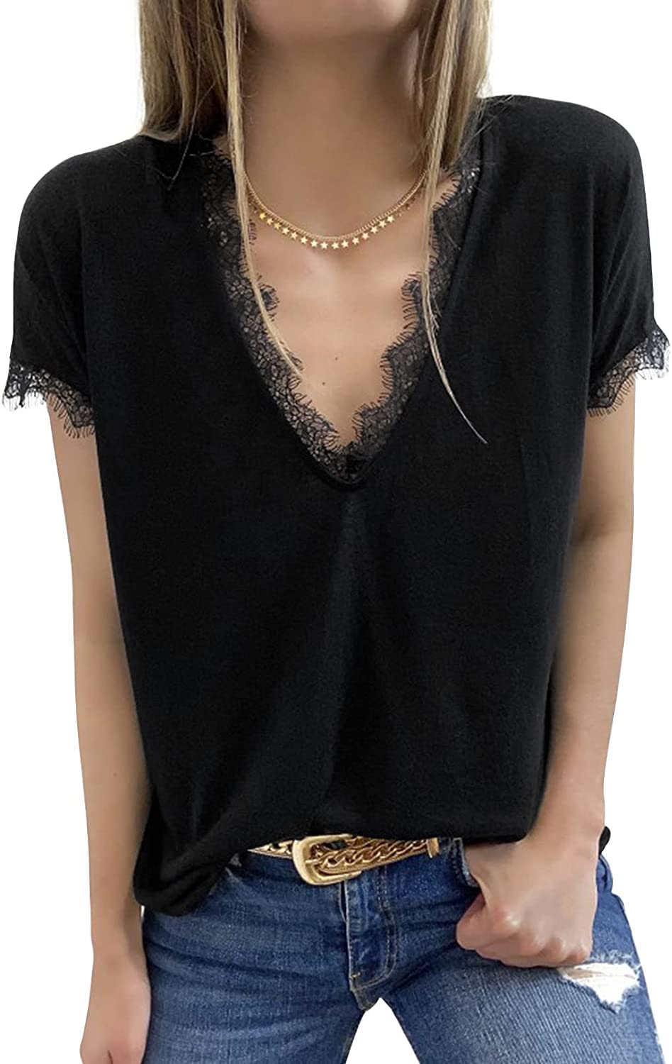 Ecrocoo Women's V Neck Lace Trim Tops Casual Summer Short Sleeve Loose Fit T Shirts Blouses