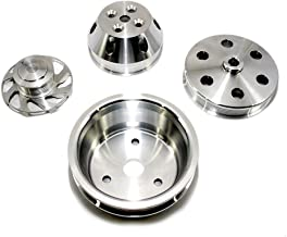 Assault Racing Products A8701-M Small Block Chevy Machined Serpentine Billet Aluminum Pulley Kit Long Water Pump SBC