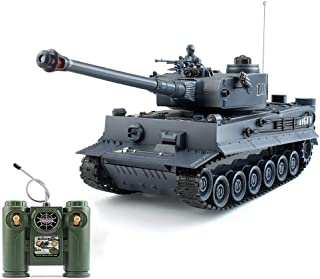 1:28 RC German Tiger Army Tank Toys, 9 Chanels Romote Control Vehicles with Sound and Light, Military Toys for Kids Boys G...