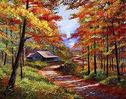 Pintura por números pintura al óleo de paisaje natural por números para adultos otoño sobre lienzo pintado a mano decoración del hogar W11 60x75cm