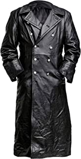 German Military Officer Uniform WW2 Classic Faux Leather Black Long Trench Coat for Men