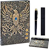 3D Phoenix Cover Leather Notebook Bullet Dotted Writing Journal,with Gold Pen Set,Holder, Elastic Closure Hardcover Journal Thick Paper,Gifts for Women Men (Phoenix-Bronze, A5(8.3