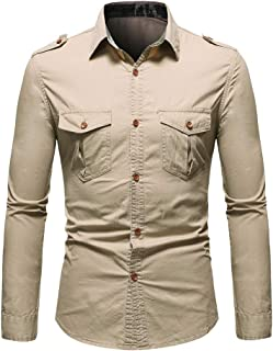 YDYG Casual Long Sleeve Button Down Shirts for Men, Regular Fit Style, 100% Cotton Printing