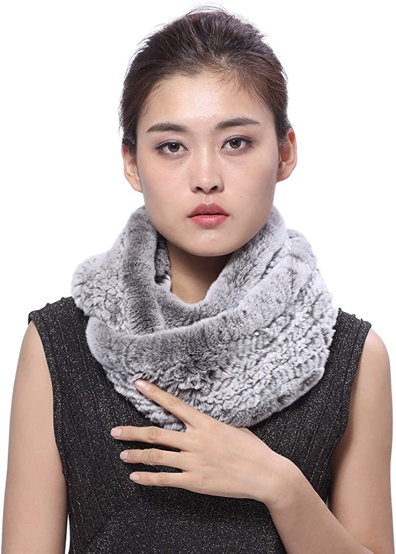 BeFur Super intense SALE Womens Winter Knit Rex Manufacturer direct delivery Both-si Infinity Fur Scarf Rabbit