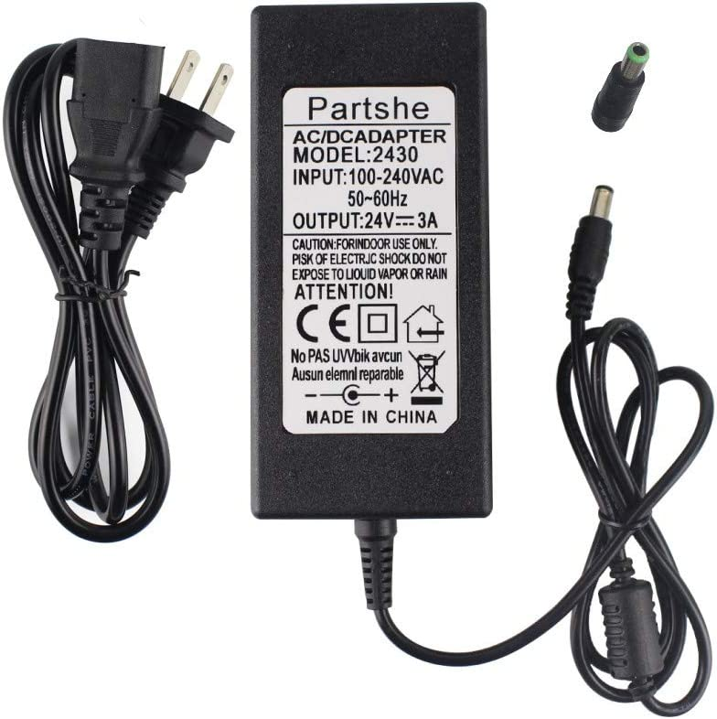 PARTSHE 24V AC DC Adapter Charger Power Supply for Zebra ZP550 ZP450 GX420d GK420d GK420t GX420t GX430T GT810 GC420t HC100 Label Printer