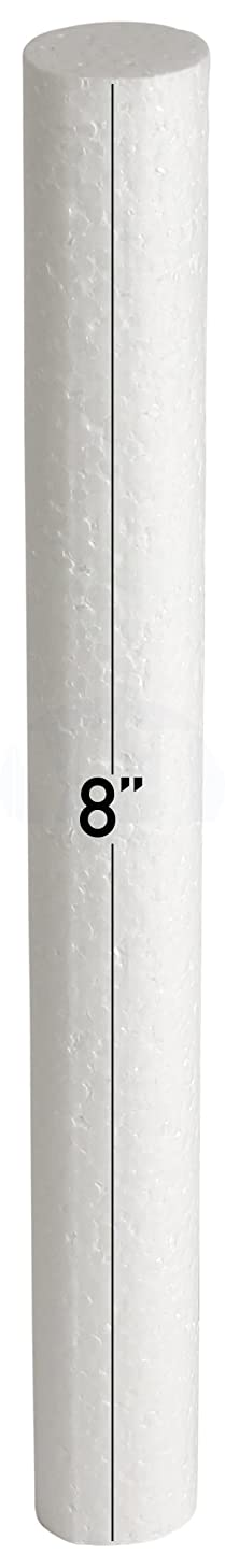 White EPS Hard Foam Rod/Cylinder Craft 1 in Diameter by MT Products (15 Pieces) (8 inch)