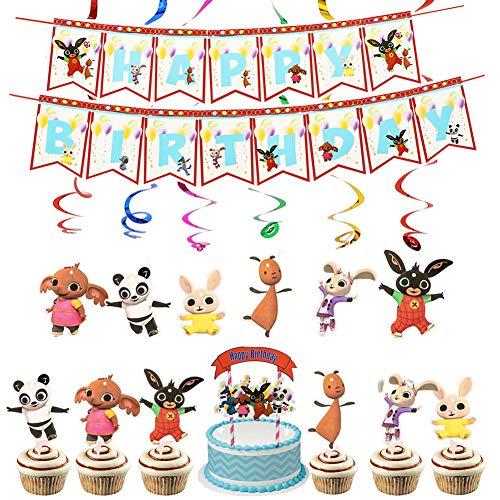 Decoraciones para fiesta de cumpleaños de Bing Bing Bunny Banner de feliz cumpleaños Bunny Cake Toppers Bing Bunny Colgante Remolino Suministros para fiestas Decoraciones