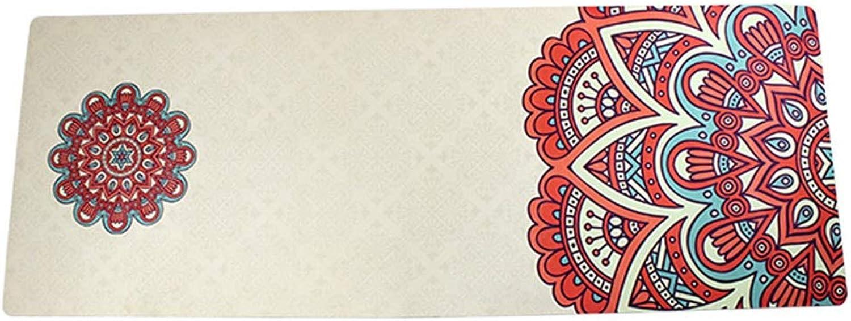 MXK Rutschfeste, Schweiabsorbierende Yogamatte - Mikrofaser-Yoga-Handtuch Aus Wildleder -183X68X0.4cm Zusammenklappbarer, Tragbarer Weier Bedruckter Teppich
