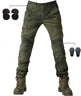 Alpha Rider MOTORCYCLE JEANS WITH PAD DENIM BIKER ARMY GREEN MOTO PANTS COMBAT PANTS Stylish Riding Jeans, windproof, breathable, anti-tearing Size: L