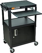 Luxor AVJ42KBC Adjustble Steel AV Cart Cabnet, Pullout, Black
