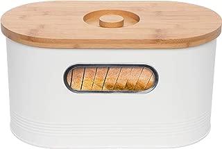 Mindful Design 2-in-1 Modern Tall Bread Box w/Bamboo Cutting Board Lid (White)