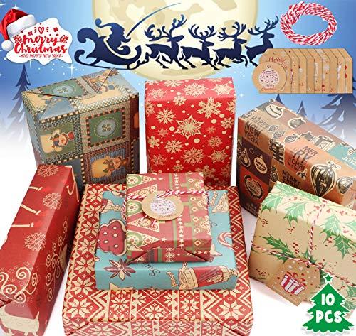 Geschenkpapier Weihnachten Recycling Papier und Tags, AmzKoi Geschenkpapier Braun in 8 Verschiedenen Mustern Retro Weihnachtspapier (50 x 70 cm, 10 Blatt)