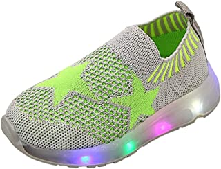Princess Shoes Breathable Non-Slip Knitting Shoes for Kindergarten Children, Sneakers Shoes Trainers 70% Discount with Lights for Walking Trekking Casual Kids, FULLSUNNY