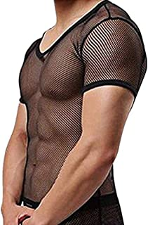 Men's See Through Fishnet Clubwear Short Sleeve T-Shirt Undershirt