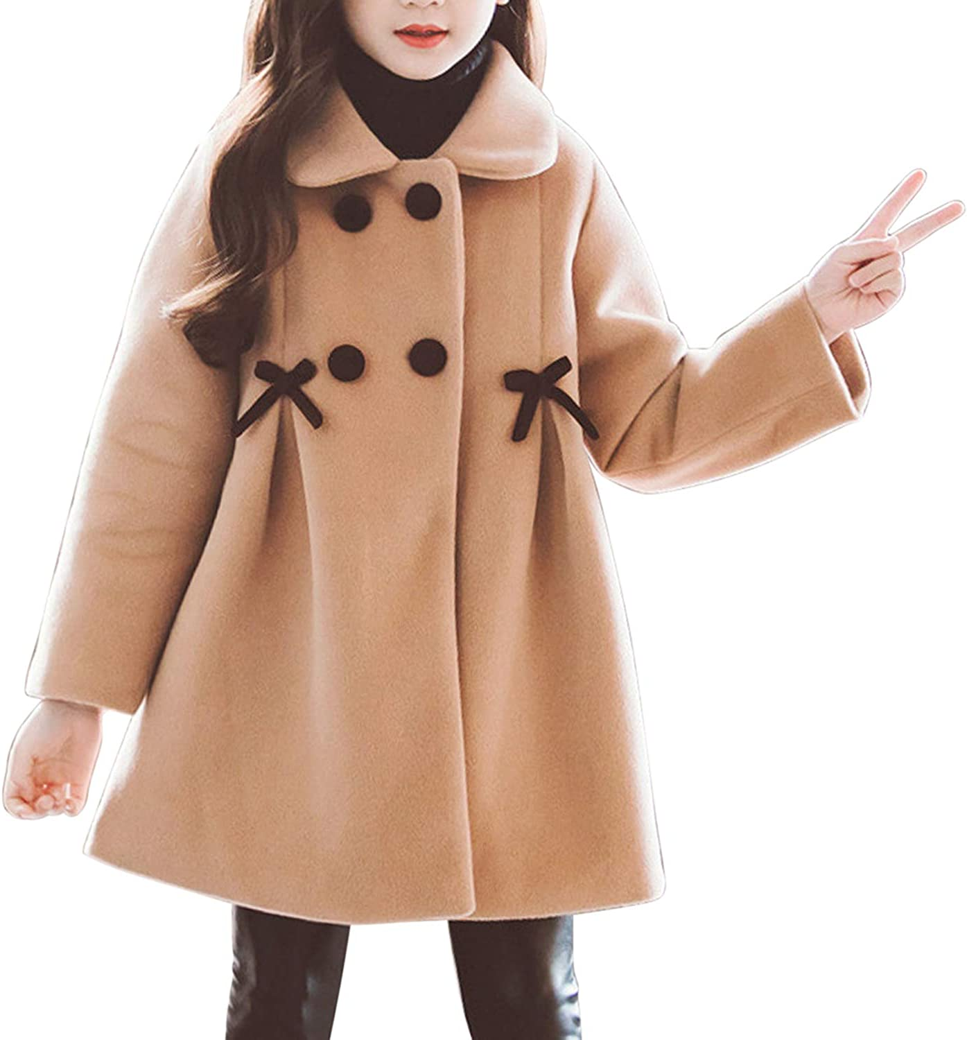 Everbeauty Girls Double Breasted Pea Coat Fashion Toddler Girl Winter Dress Coat and Beret Hat ENTDY001