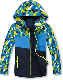 AFirst Boys Rain Jacket,Lightweight Waterproof Hooded Raincoat Windbreaker with Fleece Lining for Outdoor Hiking and Camping