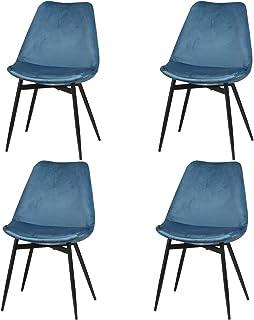 Yata Home - 4 sillas de comedor, silla de cocina, asiento acolchado de terciopelo escandinavo, patas de metal estable (azul)