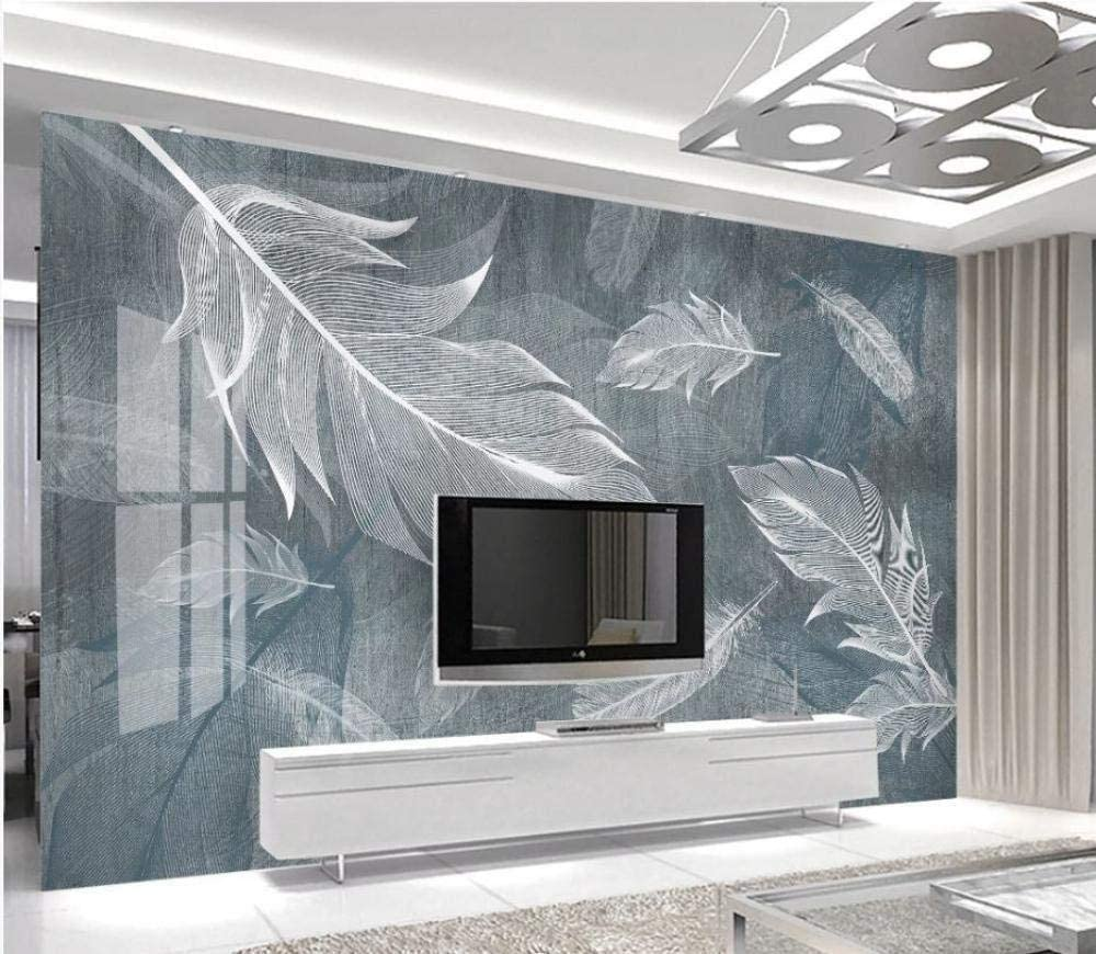 Fashion Mural Wall Decoration Poster Design Simple Tv Painting Of Watercolor Feathers Tv Background Wall Wallpaper Living Room For Bedroom Rose Blue Mural 300cm 210cm Amazon Co Uk Diy Tools