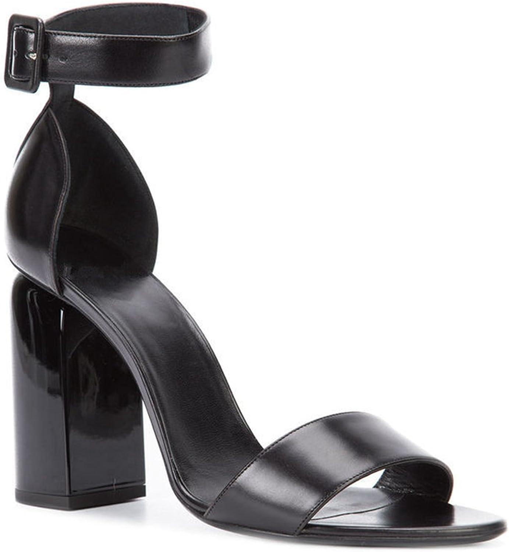 Miyaoopark LS0622 Women's Chunky High Heel Ankle Strap Lambskin Leather Dress Sandals