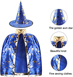 Kids Halloween Costumes Witch Wizard Cloak with Hat Wizard Cape and Hat Child's Costume for Boys Girls