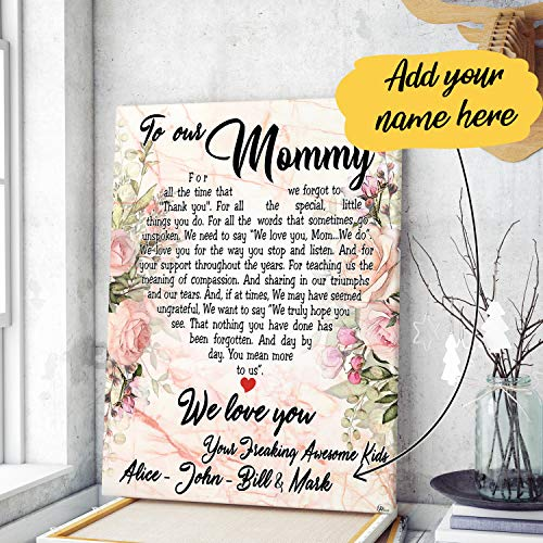 VTH Global Personalized Mothers Day Custom Kids Children Names to My Mom Mommy from Daughter Son Canvas Prints Wall Art Hanging Poster Home Decor