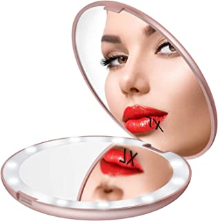 Gospire 5 Inch Lighted Travel Makeup Mirror, Super Large LED Compact Portable Cosmetic Mirror With Battery, 1X/7X Double Sided Magnifying Handheld Pocket Illuminated Mirror For Makeup Bag (Rose Gold)