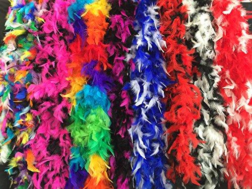 KarnevalsTeufel Federboa bunt oder zweifarbig aus 6 verschiedenen Farbvariationen wählbar Länge ca. 1,80m Ideal für Fasching kuschelig farbig (Regenbogen)