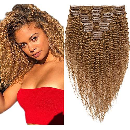 SEGO Tissage Clips Kinky Curly Clip Afro Naturel Tissage Meche Afro - 22 Pouce (55CM) 27# Blond Foncé [Double Wefts Maxi Volume] 100% Vrai Humains Boucle Ondule