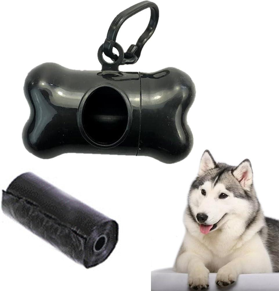 Muse's Eyes 3 colores agradable perro mascota hueso forma perro mascota mascota caca titular caja de plástico portador viaje cachorro (negro)