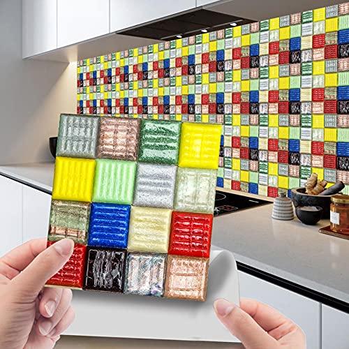 20 adhesivos para azulejos de PVC, lámina autoadhesiva resistente al calor, resistente al agua, para cocina, diseño de mosaico (20 unidades)