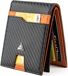 """KJENIUS® """"Galileo"""" Portafoglio Uomo Slim con Protezione RFID in Pelle e Fibra di Carbonio, Zip Portamonete, 13 Porta Carte..."""