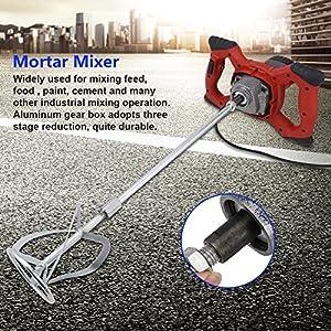 1500W 220V Mezclador Batidor para Morteros,6 Velocidades Mezclador de Pintura Electrico Mezclador de Mortero Cemento Hormigonera,80x19.5cm, Rojo