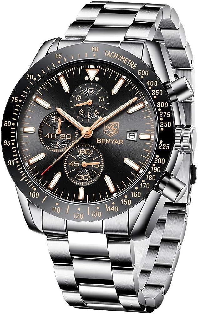 BENYAR - Stylish Wrist Watch for Men, Genuine Silicone Strap Watches, Perfect...