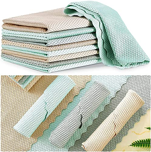 5/10/20pcs Wave Pattern Fish Scale Microfiber Polishing Nanoscale Cleaning Cloth Rag Reusable Multi-Purpose Glass Dish Cloths Miracle Lint Free Absorbent Towels Windows Cars (9.8x9.8in, 20pcs)