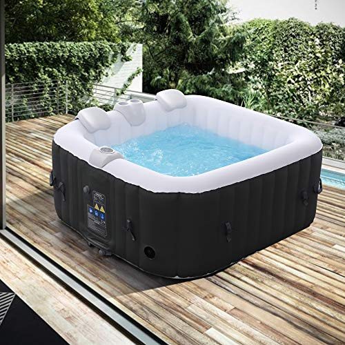Arebos aufblasbarer Whirlpool In-Outdoor - 4 Personen – 130 Düsen - 154 x 154 cm – 550 Liter - Spa Pool - Massage, Heizung, Wellness