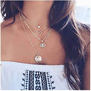 Yokawe Boho Crystal Layered Necklace Gold Coin Eye Pendant Chain Rhinestone Multilayered Necklaces Love Choker Jewelry for...