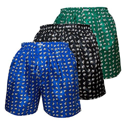 3er Mischen Herren Comfort Nachtwäsche Unterwäsche Elefanten Thai Silk Boxershorts (XL, Blau Schwarz Grün)