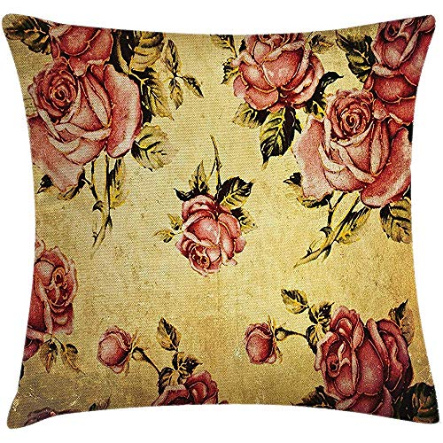 Nat Abra Funda de Almohada de Tiro Shabby Chic, Rosa de Estilo Victoriano Vintage con diseño dramático de Arte en Color, Fundas de Fundas de Almohada para sillón sofá 45X45CM