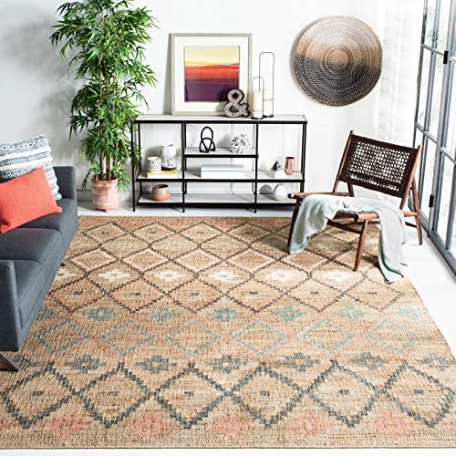 Safavieh KLM753A 5 Kilim Collection KLM753A Natural and Blue Premium Wool 5 x 8 Area Rug product image