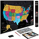 US Map w/ Scratch Off Ink by VespucciWorld (24x17' Glossy Laminated) Beautiful Wall Poster to Show Off Your United States Travel Destinations - Unique Accessories Set & 54 USA Landmarks Ebook