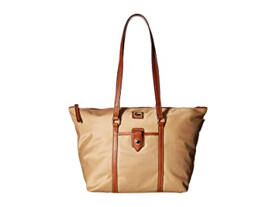 Dooney & Bourke Camden Large Zip Tote (Natural/Dark Chocolate Trim) Tote Handbags