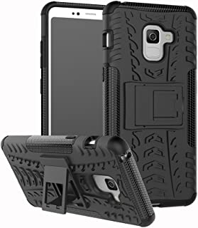 Galaxy A8 2018 Case, Folice [Heavy Duty] [Shockproof] Hybrid Rugged Soft Rubber Hard PC Tough Dual Layer Protective Case Cover with Kickstand for Samsung Galaxy A8 2018 / A5 2018 5.6 Inch (Black)
