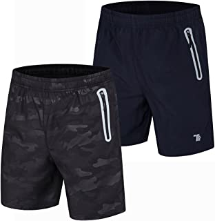 Men's 7'' Running Shorts Reflective Quick Dry Shorts with Zipper Pockets