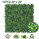 "Ogrmar 12PCS 20""x20"" Artificial Boxwood Panels Topiary Hedge Plant, Privacy Hedge Screen UV Protected Suitable for Outdoor, Indoor, Garden, Fence, Backyard and Décor (Boxwood-12PCS)"