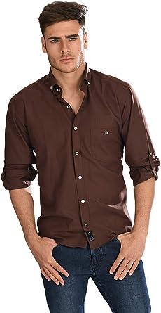 Camisa Oxford Manga Larga de Hombre en Chocolate: Amazon.es: Ropa