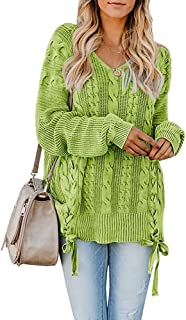 YeMgSiP Womens Oversized Pullover V Neck Chunky Cable Knit Sweaters Fall Plus Size Warm Jumper Tops
