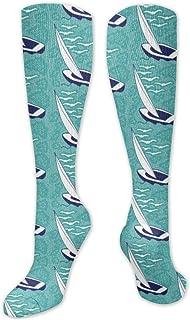 MISS-YAN, Segel Toile Multi Blues Calcetines para hombres y mujeres, divertidos y locos, para carreras, deporte, deporte, deporte, calcetines de calf